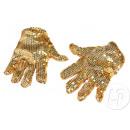 paio di grossi guanti di scintillio dell'oro