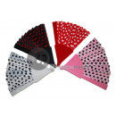 wholesale Costume Fashion: fan with black polka dots 22cm pink plastic