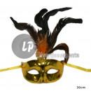 gouden wolfsmasker met veren