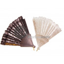 wholesale Costume Fashion: black lace fan with gold ornaments