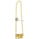 grossiste Bijoux & Montres: collier métallique doré pimp