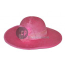 Mujer con sombrero de plumas rosa