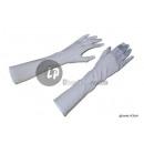 pair of long white satin gloves