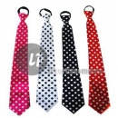 pink tie with white polka dots