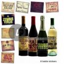 set of 8 stickers horror bottle