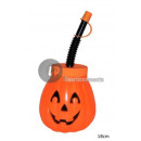cup with straw pumpkin 18cm