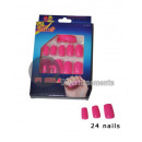 grossiste Vernis a Ongles: lot de 24 faux ongles rose fluo neon