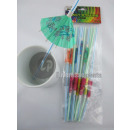 wholesale Parasols & Pavilions: Lot of 12 straws with umbrella 24cm