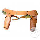 wholesale Belts: cowboy belt with two holsters beige leather