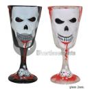 wholesale Drinking Glasses: Wine glass skull white 17cm