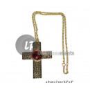 ingrosso Gioielli & Orologi: Collana croce  metallo con rubino finto