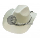 Felt cowboy hat with rope WHITE