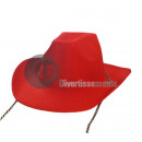 Felt cowboy hat with rope RED