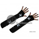 wholesale Gloves: pair of mittens pirates LONG BLACK