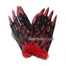 Großhandel Handschuhe: Handschuhe Teufel mit Klauen und SCHWARZ ROT