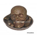 wholesale Lampes: tray with bones and skull light gold 35cm