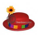 Großhandel Kopfbedeckung: RED Clown Hut mit Sonnenblumen