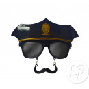 police cap and glasses with mustache