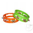 Großhandel Musikinstrumente: Orange Kunststoff Tamburin 15cm Mix grün