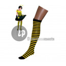 low to yellow woman with black stripes
