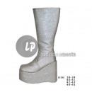 Großhandel Schuhe: Paar Pailletten hohe silberne Stiefel