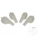 set of 4 white plastic whistles 8cm