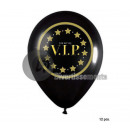set of 12 black balloons vip 30cm and gold