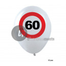 set of 12 white balloons 60 years