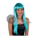 Wig long hair pretty pony GREEN / BLUE