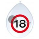 groothandel Sport & Vrije Tijd: set van 8  verjaardag ballonnen 18
