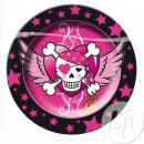 Großhandel Geschirr: rosa Piraten Set aus 8 Papptellern