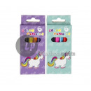 set of 6 unicorn colored pencils 8,5cm