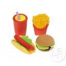 grossiste Mobilier de bureau: set gommes fast food 4pcs