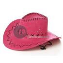 Großhandel Kopfbedeckung: Cowboyhut Kunstleder Fuchsia
