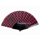 wholesale Costume Fashion: fan with red dots 22cm black plastic