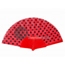 wholesale Costume Fashion: black polka dot fan 22cm red plastic