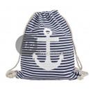 blau / weiß gestreift Marine Strand Rucksack &