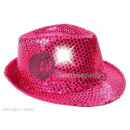 trilby hat with bright pink glitter