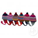grossiste Sports & Loisirs: bonnet péruvien  avec pompons mix 12050