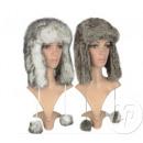 grossiste Vetement et accessoires: bonnet chapka à  fourrure avec pompons gris mix
