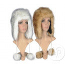 wholesale Microwave & Baking Oven: cap fur hat with  fur pompoms with white & beig