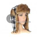 wholesale Microwave & Baking Oven: plaid cap fur hat with gray fur