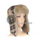 plaid cap fur hat with beige fur
