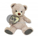 beige teddybeer zitten met hart liefde