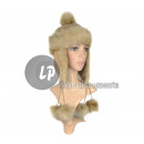 wholesale Microwave & Baking Oven: cap fur hat with  fur pompoms with double beige