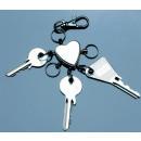 grossiste Cadeaux et papeterie: Porte-clés COEUR argent B-Ware