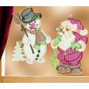 groothandel Figuren & beelden: Window beeld  Sneeuwman met uitgebreide borduur