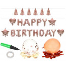 wholesale Party Items: Metallic Rose Gold Balloons Set Birthday Lettering