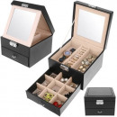 Casket Jewelery Box Kuferk Watches Black 8898