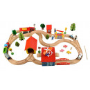 wholesale Car accessories: Railroad Set 69 Wood Elements Train Car Railroad C
